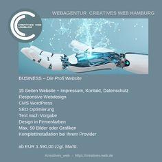 Die Profi Website Web Design, Business Website, Sci Fi, Creative, Hamburg, Graphics, Design Web, Science Fiction, Website Designs