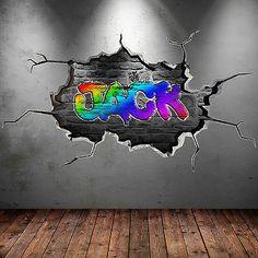 Childrens Wall Decals, 3d Wall Decals, Wall Stickers, Graffiti Names, Graffiti Wall Art, Personalized Wall Decals, Graffiti Designs, Name Wall Art, Colorful Backgrounds