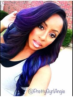 .PrettyGyrlAngie on IG ...WOW I LOVE BLACK GIRLS WITH PUNK PURPLE BLUE HAIR