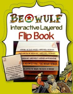"""Beowulf: Interactive Layered Flip Book Includes: 8 pages – each """"flap"""" is ¾ inch and is ready for your students to easily line up by using the dir. Teaching Reading, Teaching Ideas, Creative Teaching, Learning, Teacher Resources, Anglo Saxão, Text Feature Anchor Chart, Beowulf, Literary Terms"""
