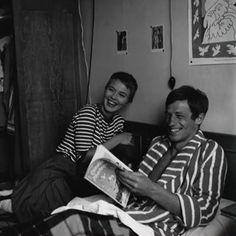 """Jean Seberg and Jean-Paul Belmondo on the set of """"À bout de souffle"""" (Jean-Luc Godard, 1960)"""