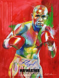 Floyd Mayweather Promotions poster by H.O.F. artist Richard T. Slone