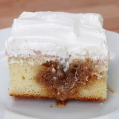 Cinnamon Roll Poke Cake - Delicious! Made as directed except I made cream cheese frosting instead of whipped topping. Will definitely make it again !