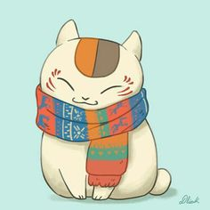 Neko, cat, scarf; Kawaii