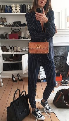 striped, suit, woman, classy, style, brown, bag, fashion, chanel, strong, converse
