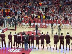 Singing national anthem at Razorback game against Texas A&M on February 24, 2015.