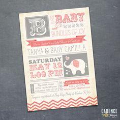 Baby Shower Invitation, Elephant Baby Shower, Vintage Baby Shower Invitation (PRINTABLE)