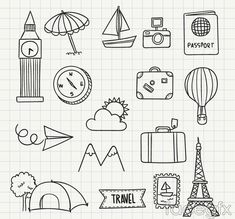16 travel hand-painted icon vector
