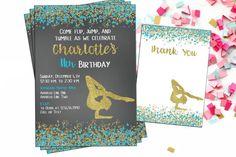 Printable Gymnastics Digital Invitation  by OTPartyPrintables