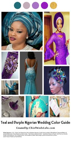 A purple and teal wedding color board guide for Nigeran brides. Pretty ideas on how to incorporate purple and teal for your white wedding and reception ceremony. Includes ideas on aso oke/aso ebi/ankara/other African print, chief bridesmaid/bridesmaids and flower girls and wedding guest dresses, gele, hand fan, jewelry beads, event decor and more!