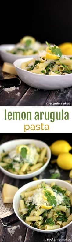 Your favorite pasta is tossed with lemon juice and zest as well as arugula and olive oil and then topped with a shower of shredded Parmesan cheese.  This Lemon Arugula Pasta is the answer to getting dinner on the table quickly with minimal effort and without heating up your kitchen.