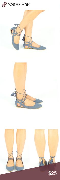 ✨COMING SOON✨ NWT. Blue denim lace-up flats ✨COMING SOON✨ NWT. Blue denim lace-up flats. Pointed toe design. Comes in the original box. LIKE THIS LISTING TO BE NOTIFIED WHEN IT COMES IN STOCK. Shoes Flats & Loafers