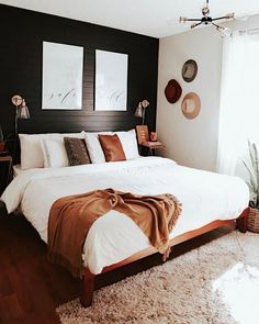 Mid Century Modern Bedroom Design Ideas « Home Decoration - Home Design Dream Rooms, Dream Bedroom, Home Bedroom, Black Master Bedroom, Master Bedroom Design, Master Suite, White And Brown Bedroom, Apartment Master Bedroom, Bedroom Inspo