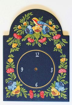 Naomi Ganor - My Art Journal Clock Painting, One Stroke Painting, Tole Painting, Fabric Painting, Painting On Wood, Russian Painting, Russian Art, Art Decor, Decoration