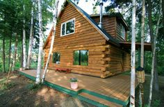 Private, waterfront cabin among trees