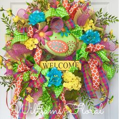 Bright Spring and Summer Welcome Mesh Wreath by WilliamsFloral on Etsy https://www.etsy.com/listing/227807526/bright-spring-and-summer-welcome-mesh