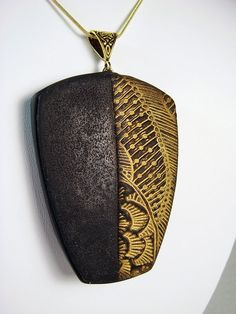 Handmade Textured Black and Gold Polymer Clay Necklace | Flickr - Photo Sharing!