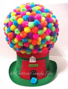 Crazy Hat Day Gumball Machine Hat can find Crazy hat day and more on our website. Crazy Hat Day, Easter Hat Parade, Silly Hats, Funny Hats To Make, Funky Hats, Red Ribbon Week, Gumball Machine, Diy Hat, Crazy Socks
