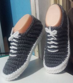 crochet 'vans' slippers in grey.  shushshandmadestuff.blogspot.com my sister is the most awesome xx