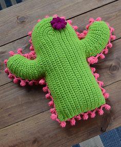 Crochet Cactus Pillow,