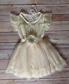 Cream Ivory Lace Toddler Girls Dress, Vintage Lace Toddler Girls Dress, Ivory Cream Rustic Flower Girl Dress, Birthday Dress, Beach Dress