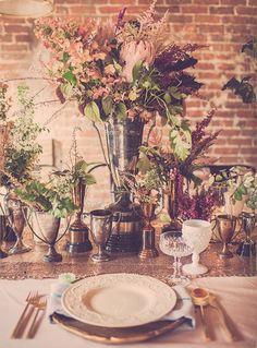 loft style vintage lush wedding arrangements