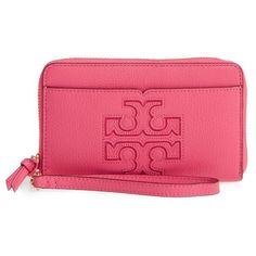 Women's Tory Burch Harper Leather Iphone 6/6S Wristlet ($175) ❤ liked on Polyvore featuring accessories, tech accessories, fiesta, smartphone wristlet, tory burch, iphone wristlets, wristlet smartphone and leather wristlet