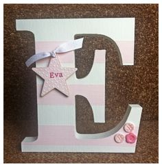 Decorated wooden letter/initial. Nursery, new baby gift, children's bedroom.