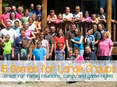 15 Games for Large Groups of all ages! These 15 games will help make your next large group gathering a fun time for all! Perfect for family reunions, camps, retreats, and game nights! Games For Big Groups, Large Group Games, Group Games For Kids, Family Games, Family Reunion Activities, Youth Group Activities, Youth Games, Family Reunions, Youth Groups