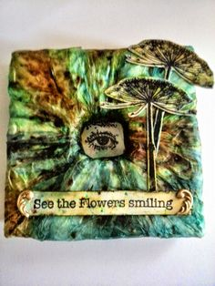 design team project for Artjourney. 10x10 canvas with bister and nature flower stamps