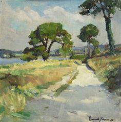 """Émile Simon, """"La route vers Kervao"""", huile sur contreplaqué"""