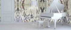 Lilac Marble: A different perspective to the music room. White Backround, Dark Blue Color, Travertine, Perspective, Lilac, Mosaic, Marble, Minimalist, Elegant