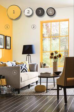 Yellow Walls Living Room, Light Yellow Walls, Yellow Accent Walls, Living Room Grey, White Walls, Mustard Yellow Bedrooms, Mustard Yellow Walls, Grey Yellow, Yellow Home Decor