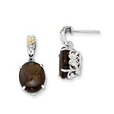 Sterling Silver w/ 14k Yellow Gold Smokey Quartz Vintage Style Earrings. Yellow-gold-plated-silver. Length: 22mm. Width: 10mm. 100% Satisfaction Guaranteed We stand behind everything we sell. If you are not satisfied with your purchase, you can return it for a replacement or refund within 30 days of purchase.