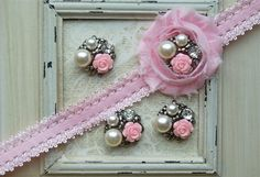 4 Metal BABY PINK Flower Pearl Cluster Buttons by shabbyrosetrim, $7.95