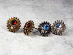 Steampunk Gear Earrings, Birthstone Earrings, Steampunk Jewelry, Gear Jewelry, Swarovski Elements, Studs, Surgical Steel Posts $14 via @shopseen