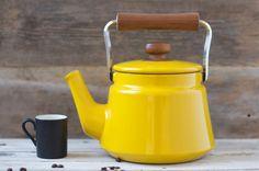 BIG. . . Vintage Large Dansk Yellow Enamel Tea Pot - Mid Century