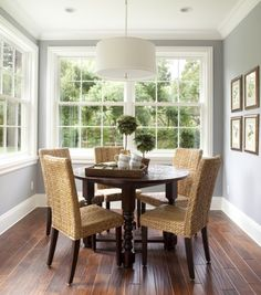 circle table with wicker chairs - LOVE