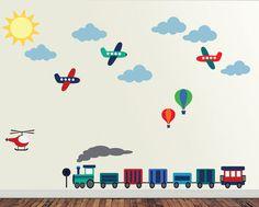 Train Airplanes Hot Air Balloons Reusable Wall by StudioWallArt, $105.00
