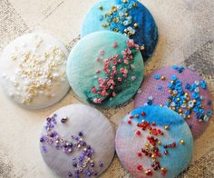 New Buttons- french knots and beaded embroidery More