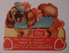 "Vintage+Pekingese+""Take+a+Peek...""+Valentine's+Card+"