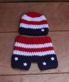 Newborn Patriotic/4th of July/Memorial Day Beanie with Matching Shorts - Ready to Ship
