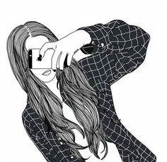 Image via We Heart It #blackandwhite #drawing #girl #iphone #outlines #tumblr
