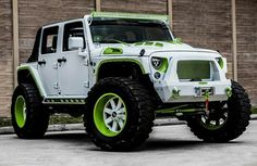 Jeep Wrangler white and green
