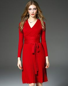 Shop Red V-neck Pleated Sweater Dress. VIPme.com offers quality Red, D.Fanni Sweater Dresses at affordable prices.