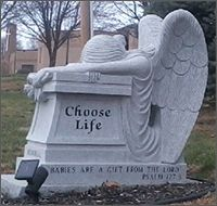 Tombstone in a memorial site for the unborn, location unknown