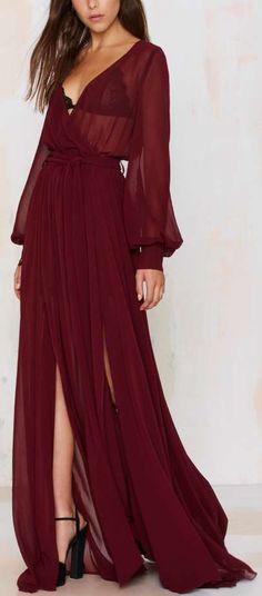 """Chiffon Dress - Oxblood == """"Repinned by Keva xo""""."""