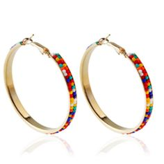Double Layer Colorful Seed Beaded Big Hoop Earrings For Women Handmade Jewelry Gold Color Statement Bohemian Earrings Brincos Circle Earrings, Round Earrings, Women's Earrings, Jewelry Gifts, Gold Jewelry, Handmade Jewelry, Women Jewelry, Ear Studs, Gold Beads