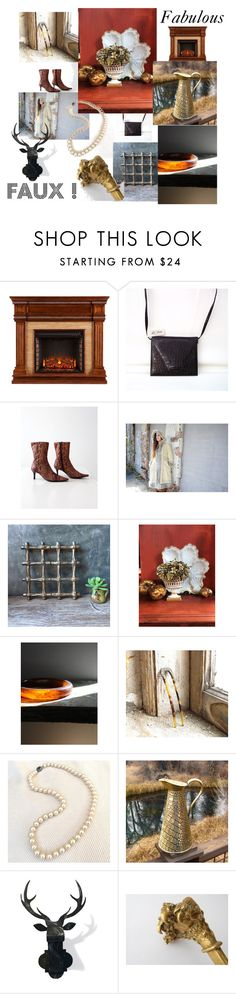 """""""Fun, Fabulous, FAUX!"""" by vintagefrenchlinens ❤ liked on Polyvore featuring interior, interiors, interior design, home, home decor, interior decorating, vintage, vintagedecor, vintagehome and VintageAndMain"""
