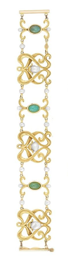 Art Nouveau Gold, Jade and Freshwater Pearl Necklace and Bracelet 14 kt., circa 1900.